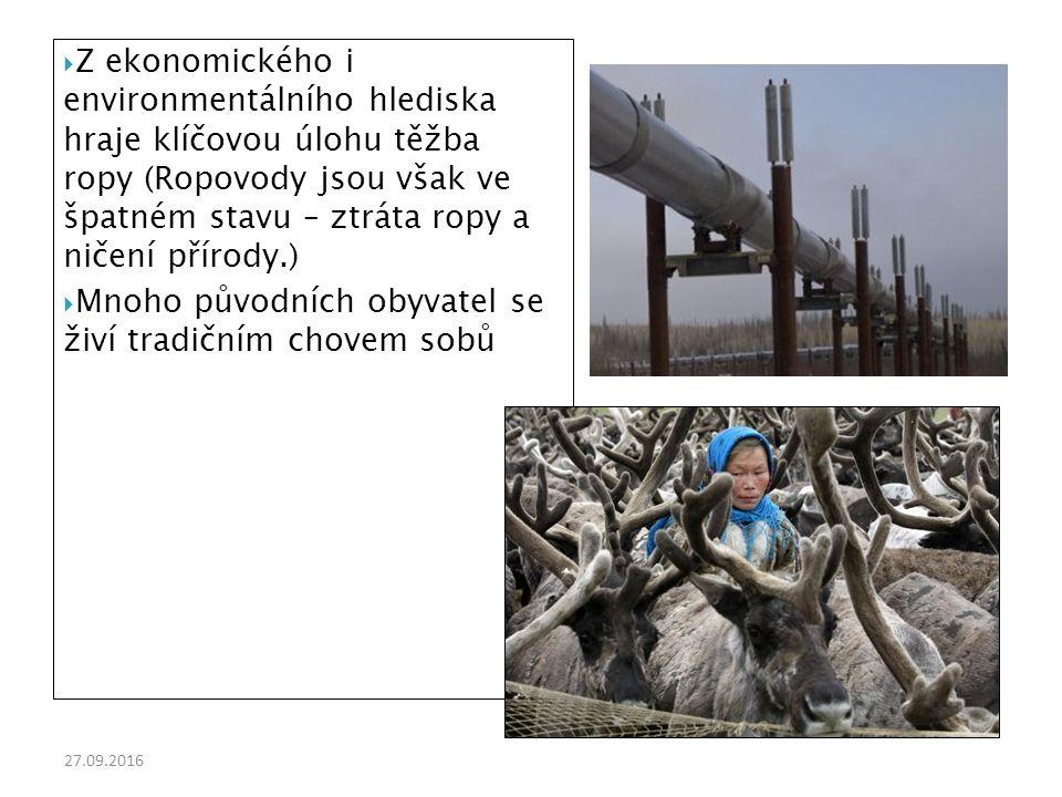 27.09.2016  Z ekonomického i environmentálního hlediska hraje klíčovou úlohu těžba ropy (Ropovody jsou však ve špatném stavu – ztráta ropy a ničení přírody.)  Mnoho původních obyvatel se živí tradičním chovem sobů