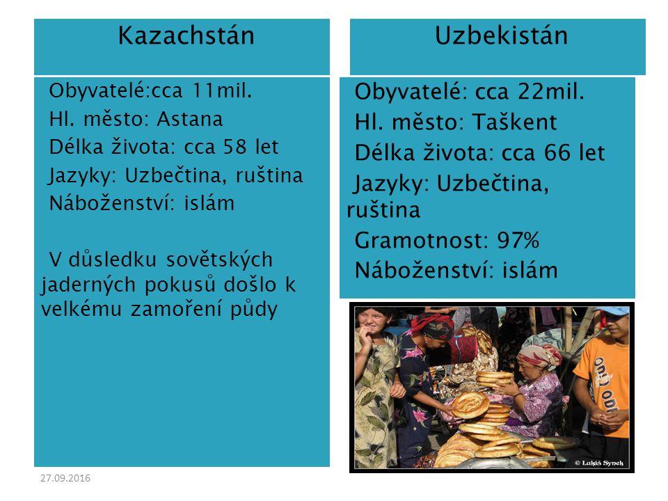 27.09.2016  Kazachstán  Uzbekistán  Obyvatelé:cca 11mil.