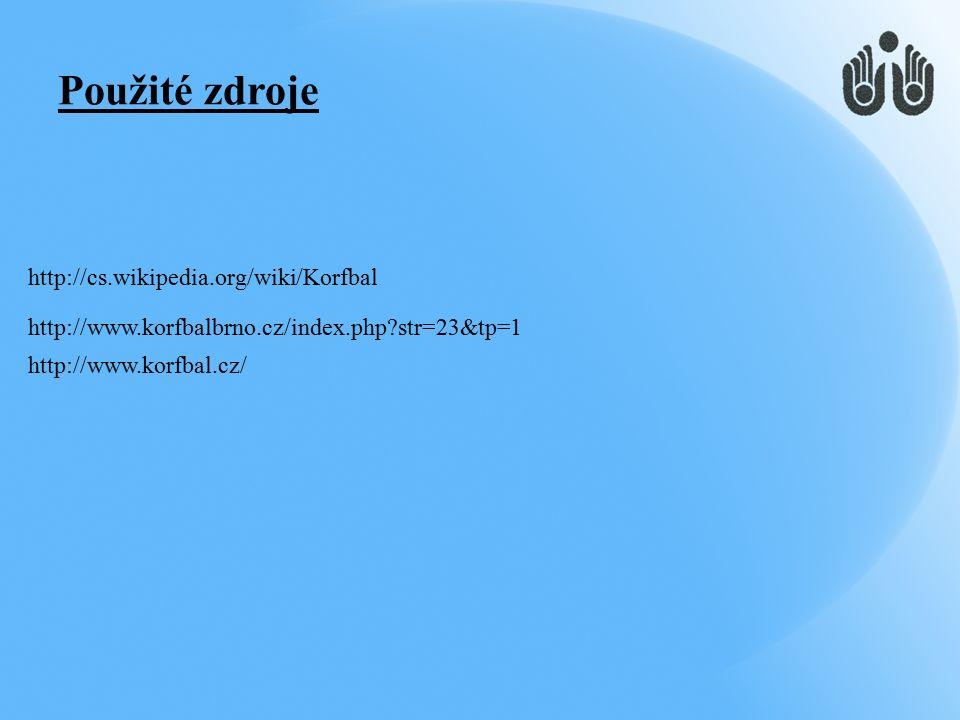 http://cs.wikipedia.org/wiki/Korfbal http://www.korfbalbrno.cz/index.php str=23&tp=1 http://www.korfbal.cz/ Použité zdroje