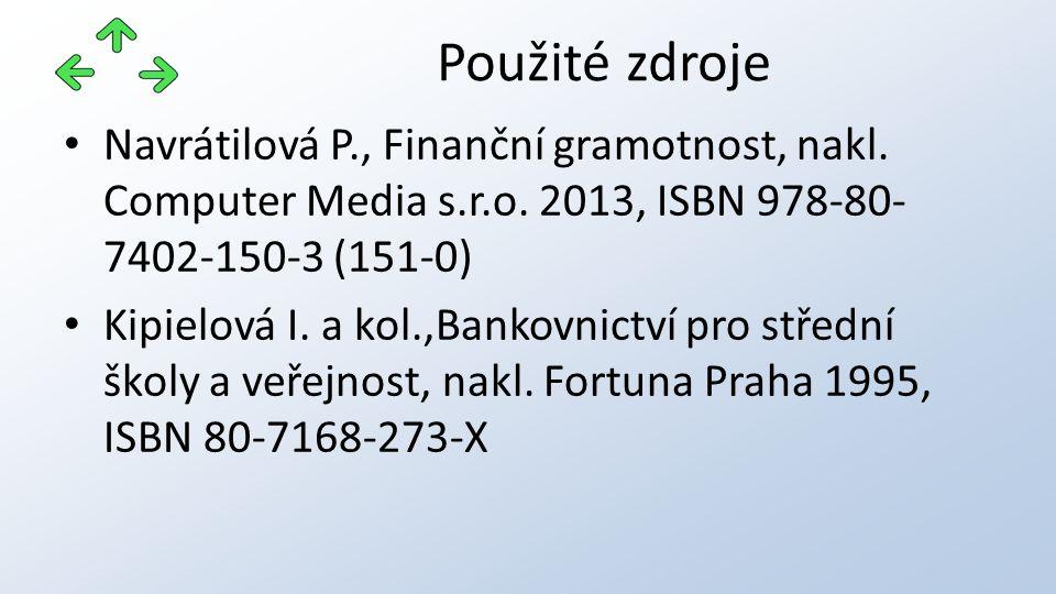 Navrátilová P., Finanční gramotnost, nakl. Computer Media s.r.o. 2013, ISBN 978-80- 7402-150-3 (151-0) Kipielová I. a kol.,Bankovnictví pro střední šk
