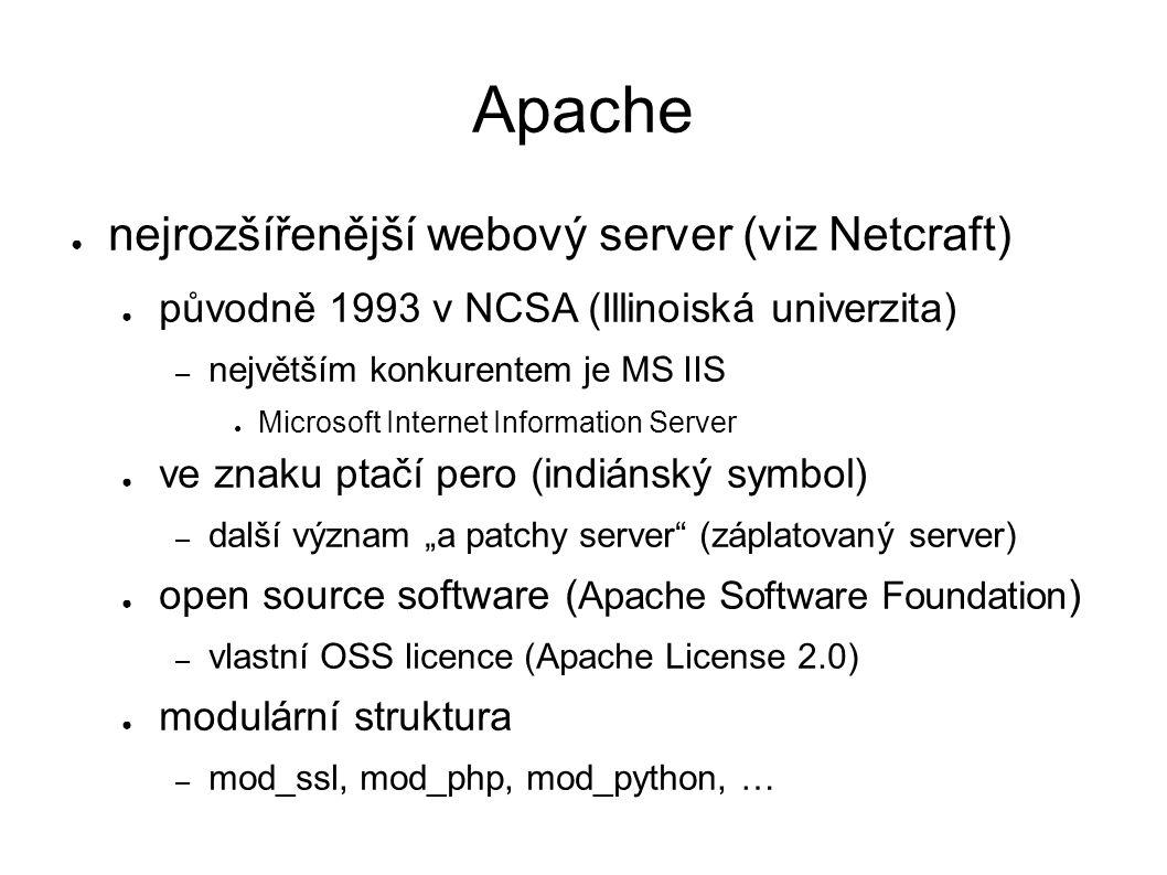 """Apache ● nejrozšířenější webový server (viz Netcraft) ● původně 1993 v NCSA (Illinoiská univerzita) – největším konkurentem je MS IIS ● Microsoft Internet Information Server ● ve znaku ptačí pero (indiánský symbol) – další význam """"a patchy server (záplatovaný server) ● open source software ( Apache Software Foundation ) – vlastní OSS licence (Apache License 2.0) ● modulární struktura – mod_ssl, mod_php, mod_python, …"""