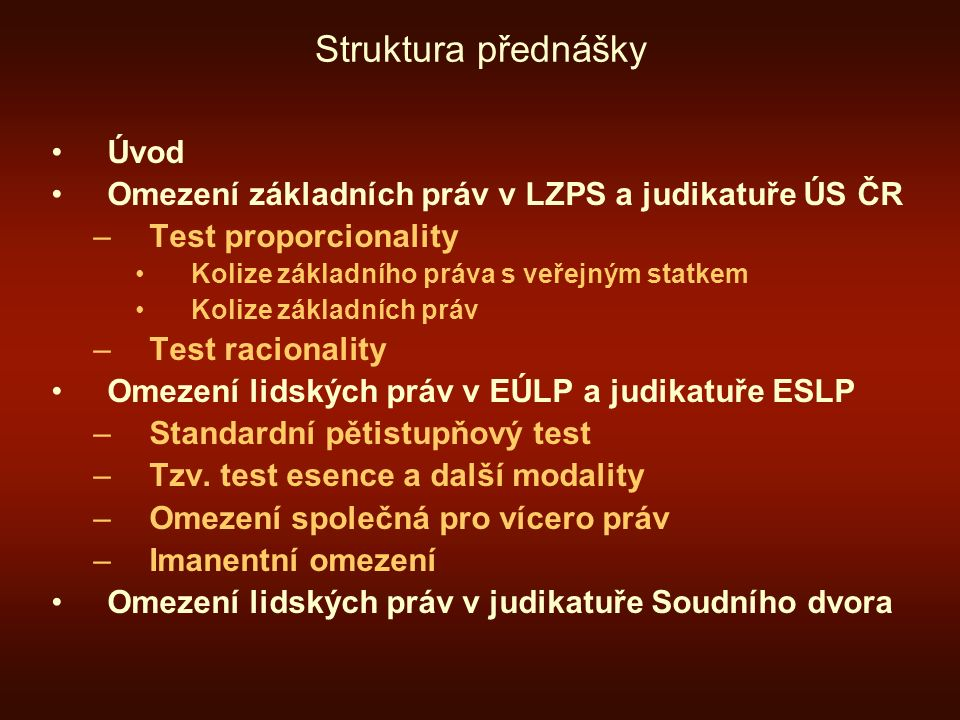 Princip legitimity I.Legitimní cíle u čl.