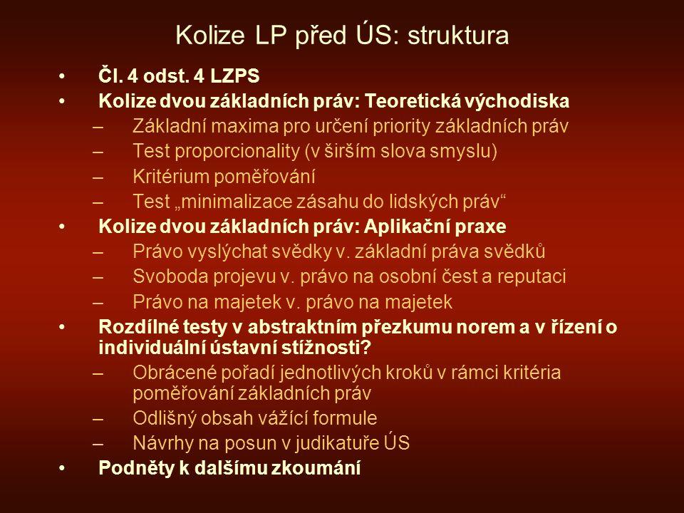 Kolize LP před ÚS: struktura Čl. 4 odst. 4 LZPS Kolize dvou základních práv: Teoretická východiska –Základní maxima pro určení priority základních prá