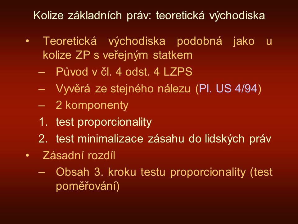 Kolize základních práv: teoretická východiska Teoretická východiska podobná jako u kolize ZP s veřejným statkem –Původ v čl. 4 odst. 4 LZPS –Vyvěrá ze