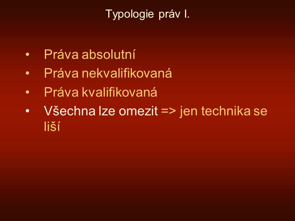 """Typologie práv II.Práva kvalifikovaná I. Čl. 10(1) EÚLP: """"Každý má právo na svobodu projevu."""