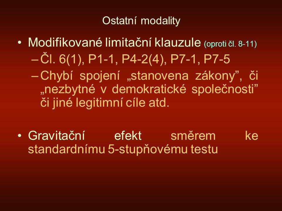 """Ostatní modality Modifikované limitační klauzule (oproti čl. 8-11) –Čl. 6(1), P1-1, P4-2(4), P7-1, P7-5 –Chybí spojení """"stanovena zákony"""", či """"nezbytn"""
