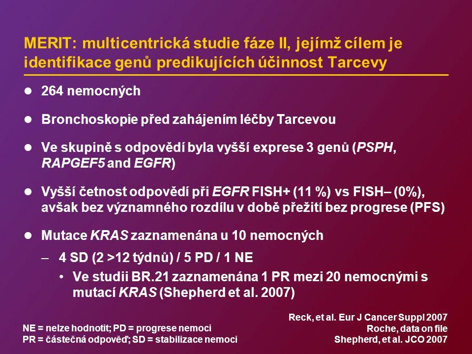 MERIT: multicentrická studie fáze II, jejímž cílem je identifikace genů predikujících účinnost Tarcevy 264 nemocných Bronchoskopie před zahájením léčby Tarcevou Ve skupině s odpovědí byla vyšší exprese 3 genů (PSPH, RAPGEF5 and EGFR) Vyšší četnost odpovědí při EGFR FISH+ (11 %) vs FISH– (0%), avšak bez významného rozdílu v době přežití bez progrese (PFS) Mutace KRAS zaznamenána u 10 nemocných –4 SD (2 >12 týdnů) / 5 PD / 1 NE Ve studii BR.21 zaznamenána 1 PR mezi 20 nemocnými s mutací KRAS (Shepherd et al.