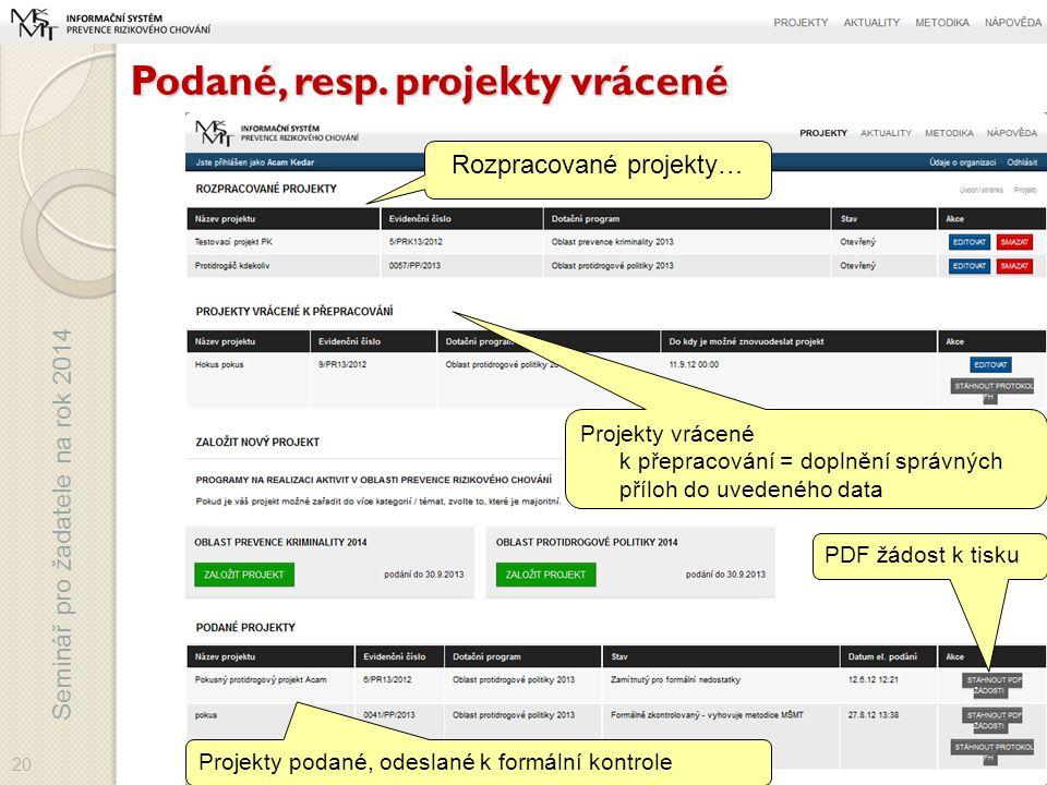 Seminář pro žadatele na rok 2014 Podané, resp.