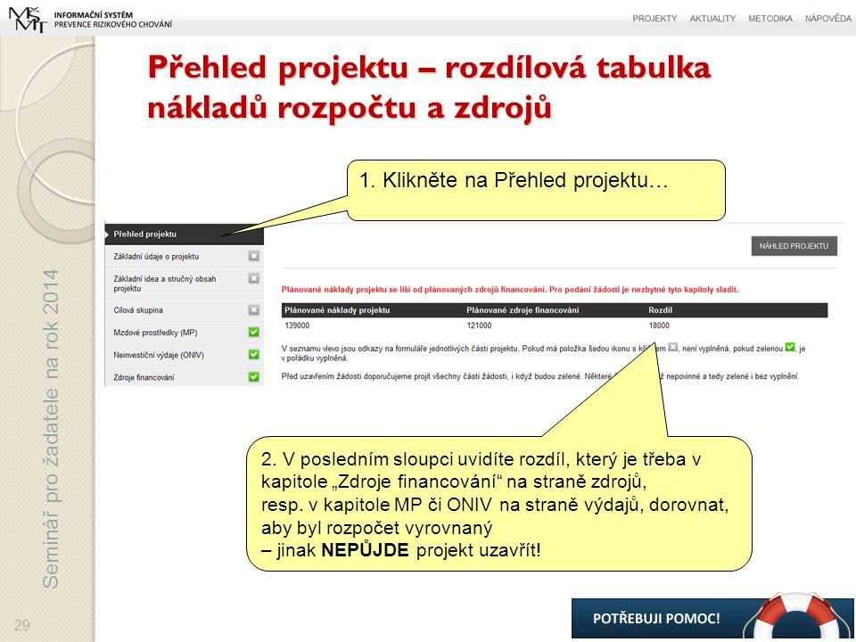 Seminář pro žadatele na rok 2014 Přehled projektu – rozdílová tabulka nákladů rozpočtu a zdrojů 29 1.
