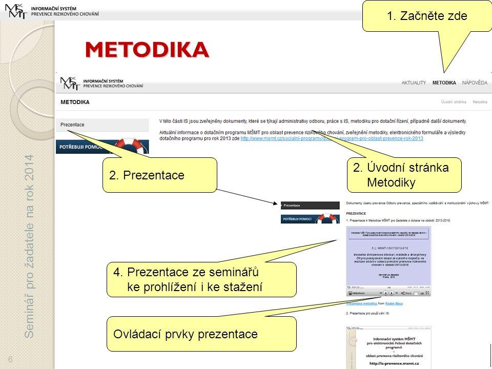 Seminář pro žadatele na rok 2014 METODIKA 6 1. Začněte zde 2.