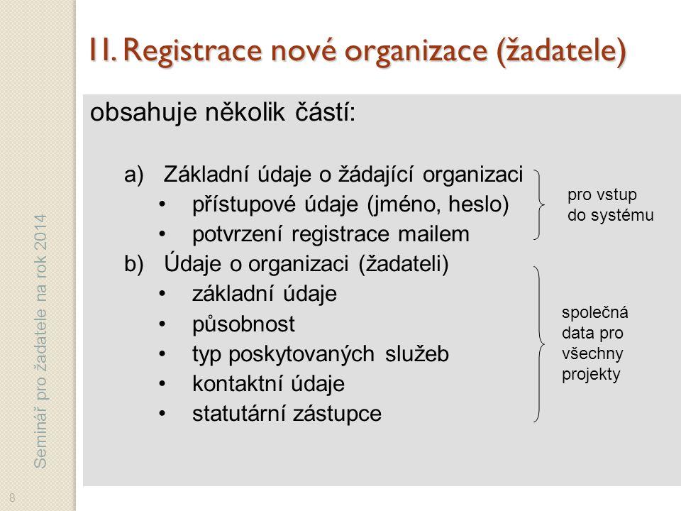 Seminář pro žadatele na rok 2014 1I.