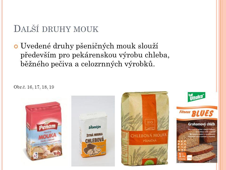 D ALŠÍ DRUHY MOUK Uvedené druhy pšeničných mouk slouží především pro pekárenskou výrobu chleba, běžného pečiva a celozrnných výrobků. Obr.č. 16, 17, 1