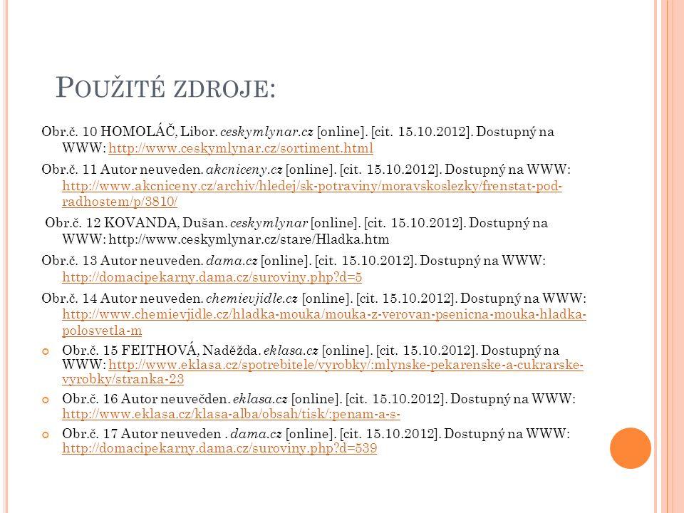 P OUŽITÉ ZDROJE : Obr.č. 10 HOMOLÁČ, Libor. ceskymlynar.cz [online]. [cit. 15.10.2012]. Dostupný na WWW: http://www.ceskymlynar.cz/sortiment.htmlhttp: