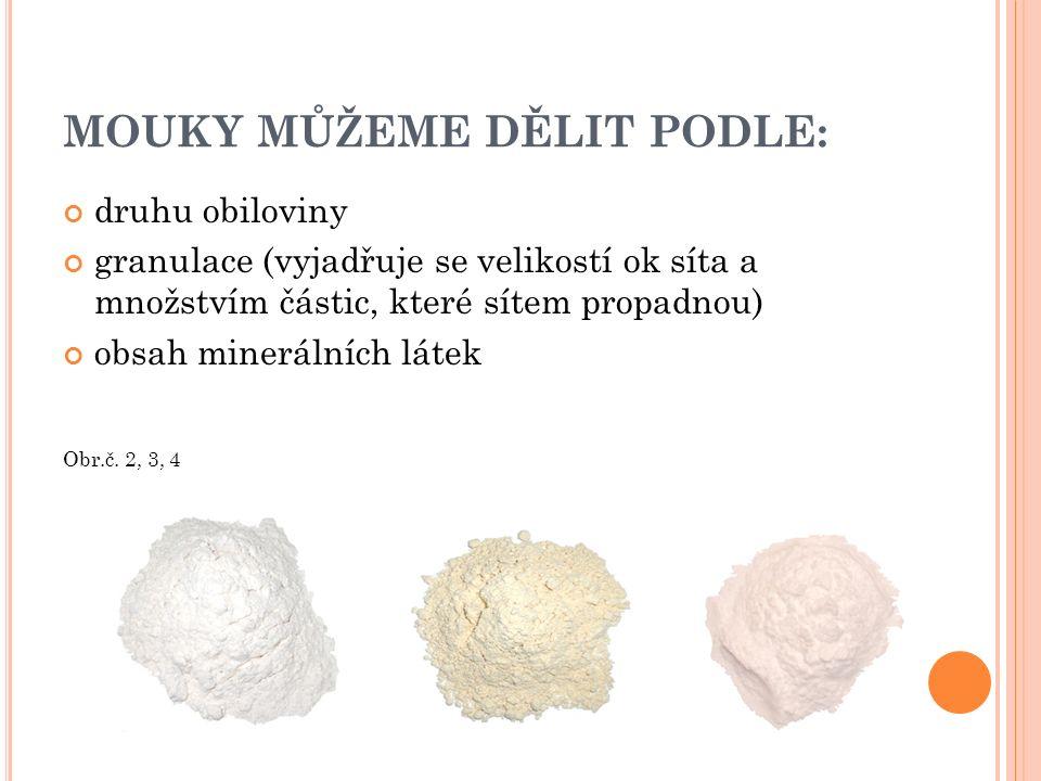D RUHY MOUK UVÁDĚNÉ NA TRH : Jsou zpracovávány v pekárenských a cukrárenských podnicích.