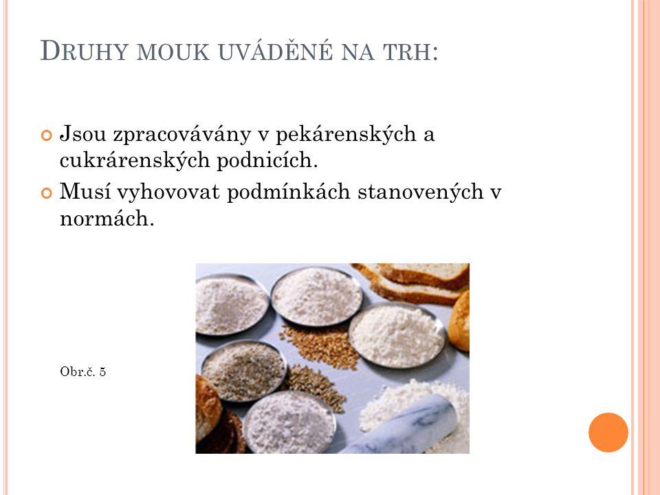 D RUHY MOUK UVÁDĚNÉ NA TRH : Jsou zpracovávány v pekárenských a cukrárenských podnicích. Musí vyhovovat podmínkách stanovených v normách. Obr.č. 5