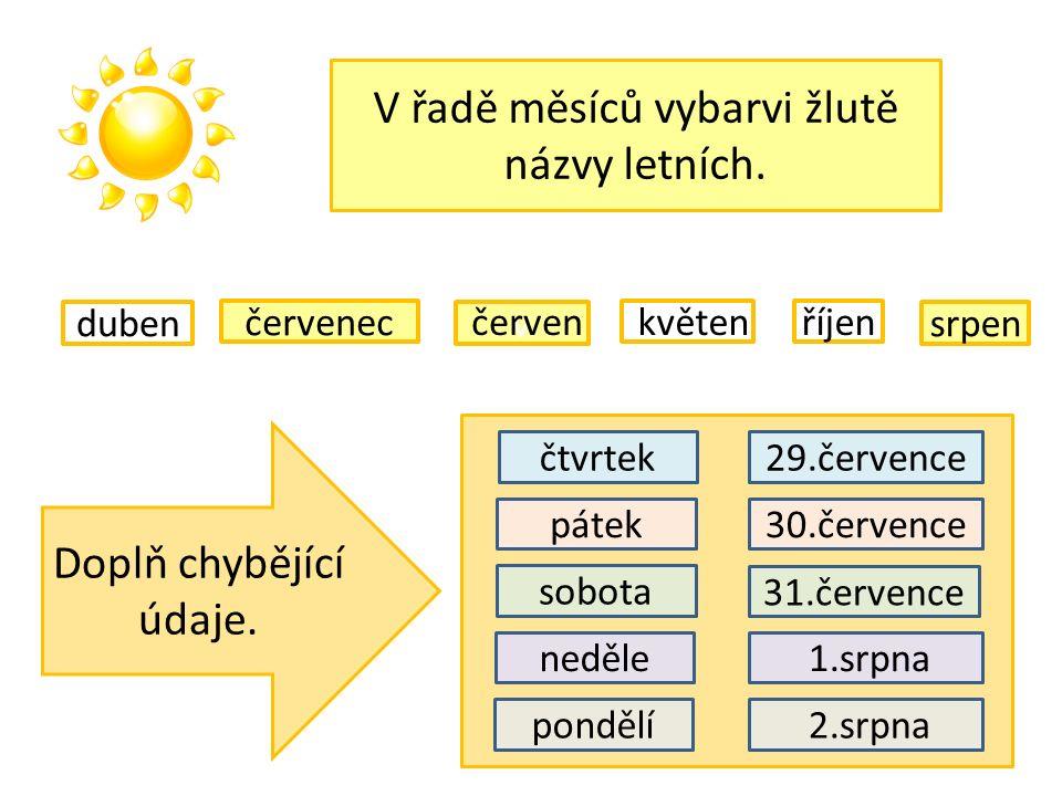 V řadě měsíců vybarvi žlutě názvy letních. v červenec říjen duben květenčerven srpen Doplň chybějící údaje. pátek sobota neděle pondělí čtvrtek29.červ