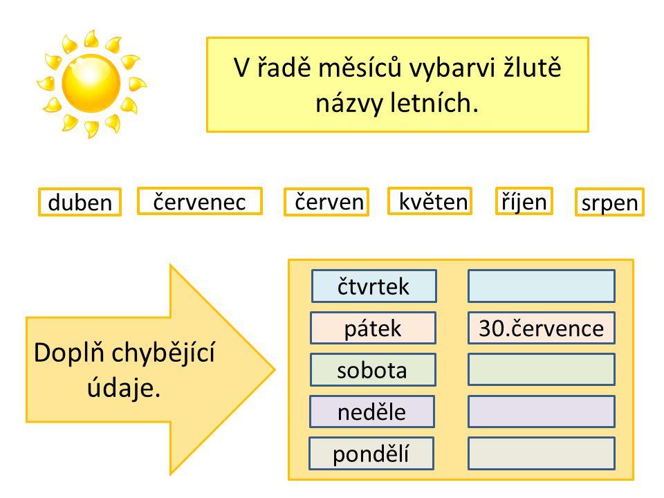 V řadě měsíců vybarvi žlutě názvy letních. v červenec říjen duben květenčerven srpen Doplň chybějící údaje. pátek sobota neděle pondělí čtvrtek 30.čer