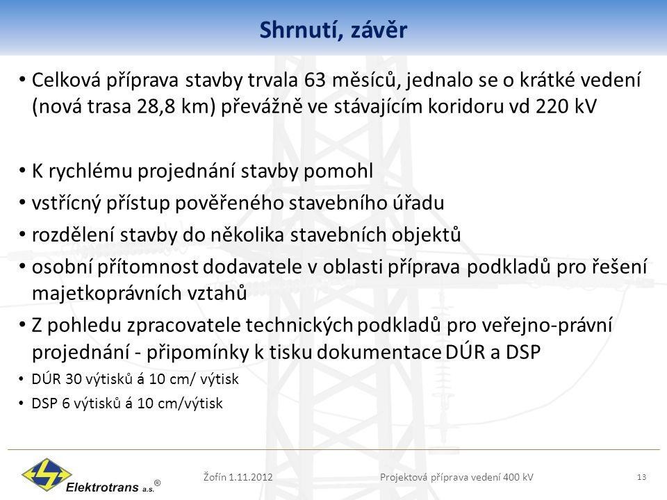 Shrnutí, závěr Žofín 1.11.2012Projektová příprava vedení 400 kV 13 Celková příprava stavby trvala 63 měsíců, jednalo se o krátké vedení (nová trasa 28