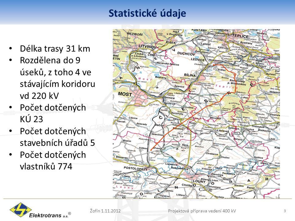 Statistické údaje Žofín 1.11.2012Projektová příprava vedení 400 kV 3 Délka trasy 31 km Rozdělena do 9 úseků, z toho 4 ve stávajícím koridoru vd 220 kV