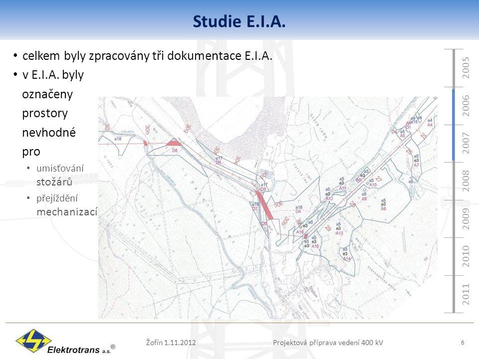 2005 2006 2007 2008 2009 2010 2011 Studie E.I.A. Žofín 1.11.2012Projektová příprava vedení 400 kV 6 celkem byly zpracovány tři dokumentace E.I.A. v E.