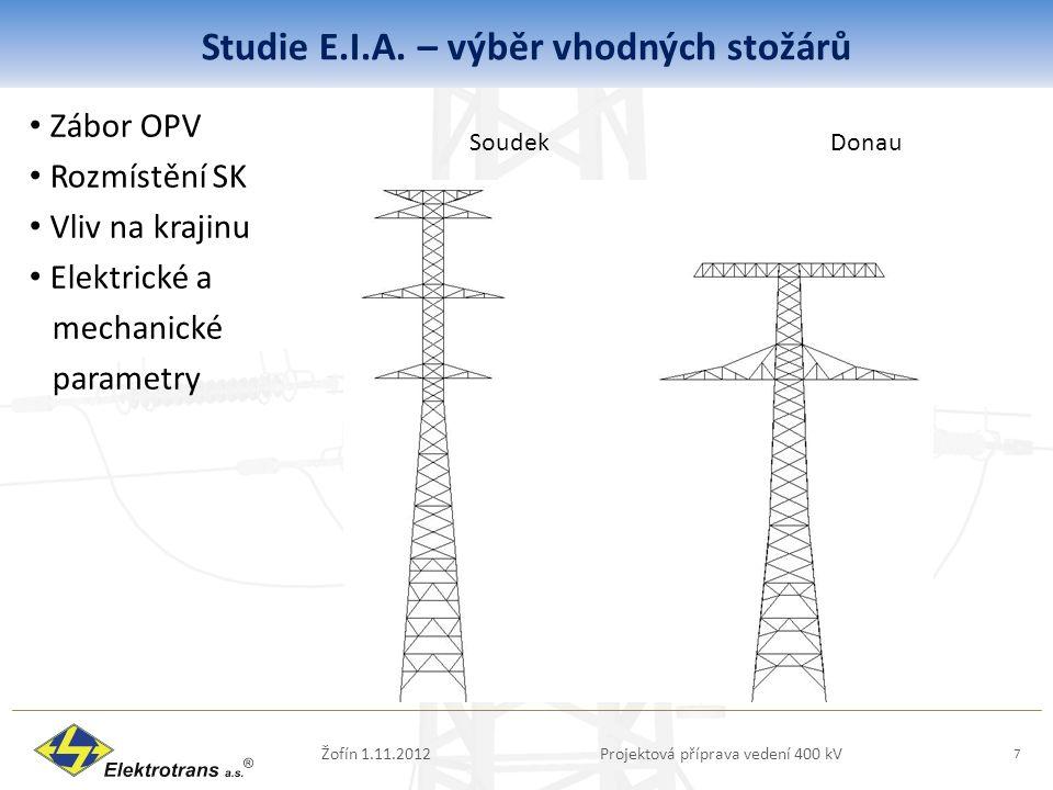 Studie E.I.A. – výběr vhodných stožárů Zábor OPV Rozmístění SK Vliv na krajinu Elektrické a mechanické parametry Žofín 1.11.2012Projektová příprava ve