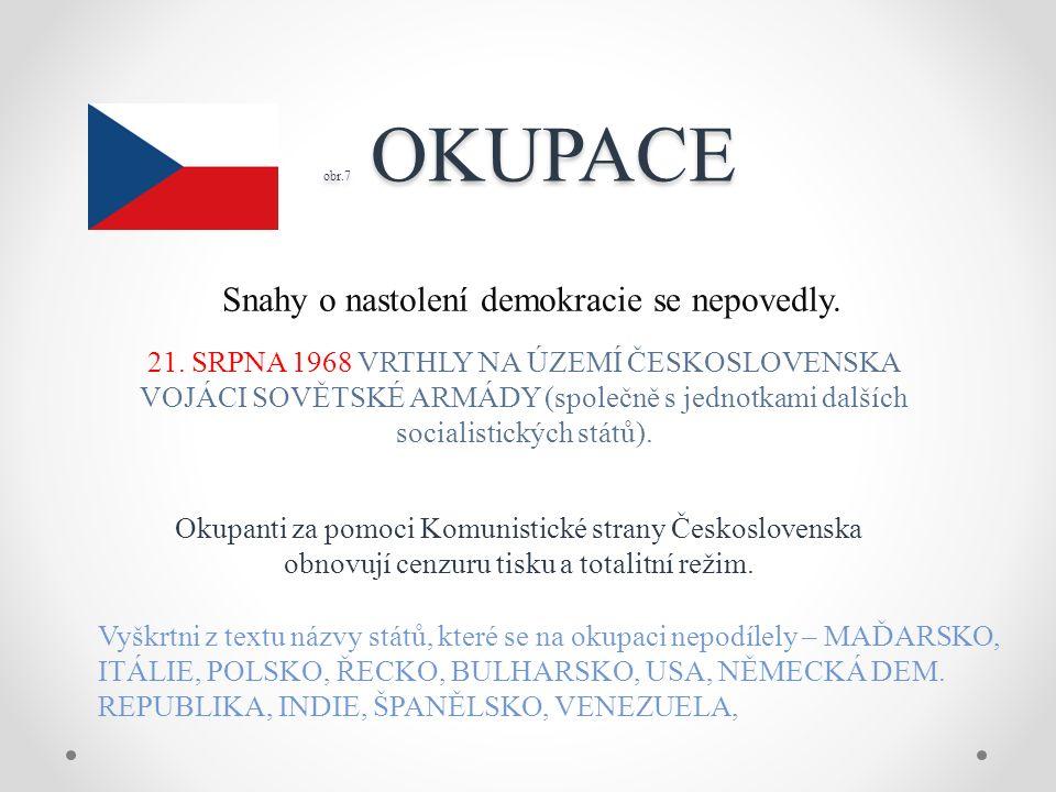 obr.7 OKUPACE obr.7 OKUPACE Snahy o nastolení demokracie se nepovedly.