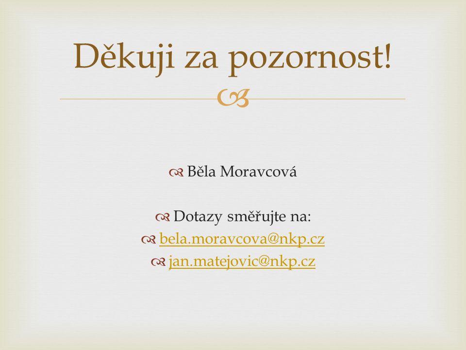   Běla Moravcová  Dotazy směřujte na:  bela.moravcova@nkp.cz bela.moravcova@nkp.cz  jan.matejovic@nkp.cz jan.matejovic@nkp.cz Děkuji za pozornost!