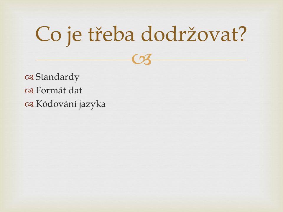   Standardy  Formát dat  Kódování jazyka Co je třeba dodržovat