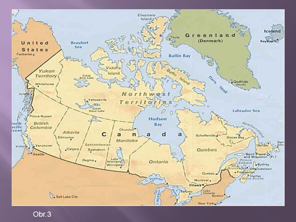 Politické uspořádání  Kanada je konstituční monarchií, jejíž hlavou je Alžběta II., královna Velké Británie  Královniným zástupcem v Kanadě je generální guvernér  Kanadská ústava vytváří právní rámec existence - její základ je obsažen v Zákoně o britské Severní Americe z roku 1867  Generální guvernér zastupující královnu formálně jmenuje vládu i premiéra Územní uspořádání  10 provincií,3 teritoria  Nejvýznamější provincií je Québec a Saskatchewan  Provincie mají vysoký stupeň autonomie, teritoria poněkud menší  v čele všech provincií a teritorií stojí premiér, zároveň má každá provincie viceguvernéra