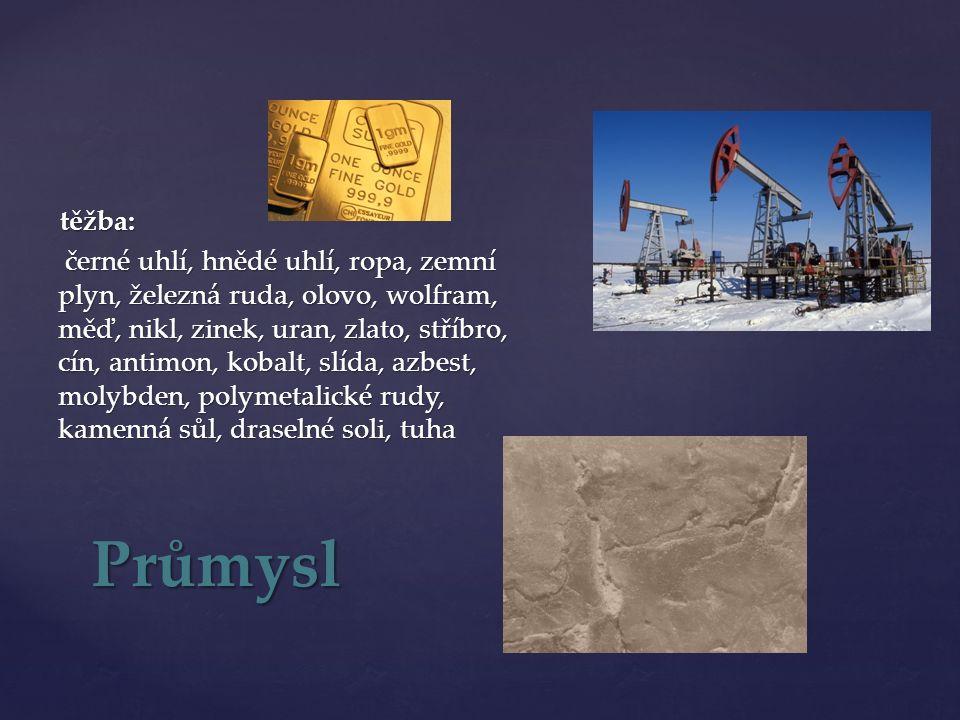 těžba: černé uhlí, hnědé uhlí, ropa, zemní plyn, železná ruda, olovo, wolfram, měď, nikl, zinek, uran, zlato, stříbro, cín, antimon, kobalt, slída, azbest, molybden, polymetalické rudy, kamenná sůl, draselné soli, tuha černé uhlí, hnědé uhlí, ropa, zemní plyn, železná ruda, olovo, wolfram, měď, nikl, zinek, uran, zlato, stříbro, cín, antimon, kobalt, slída, azbest, molybden, polymetalické rudy, kamenná sůl, draselné soli, tuha Průmysl