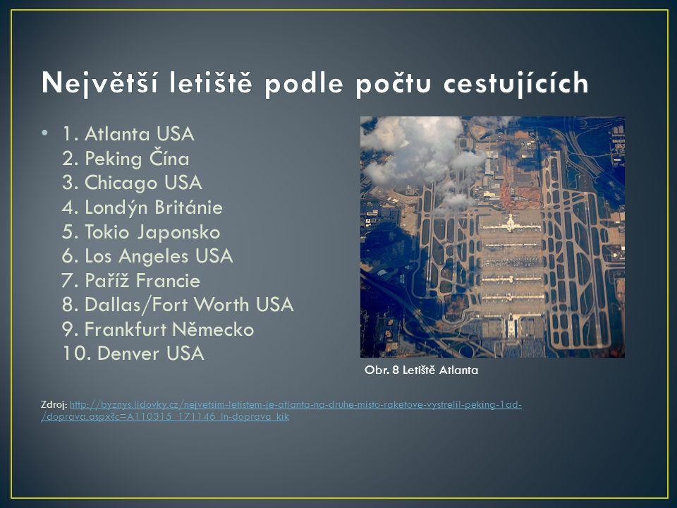 1. Atlanta USA 2. Peking Čína 3. Chicago USA 4. Londýn Británie 5. Tokio Japonsko 6. Los Angeles USA 7. Paříž Francie 8. Dallas/Fort Worth USA 9. Fran