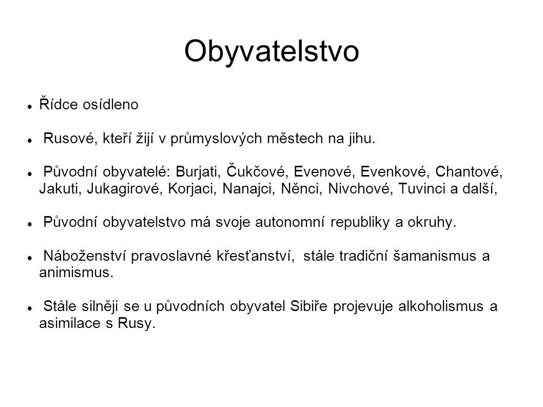 Obyvatelstvo Řídce osídleno Rusové, kteří žijí v průmyslových městech na jihu. Původní obyvatelé: Burjati, Čukčové, Evenové, Evenkové, Chantové, Jakut