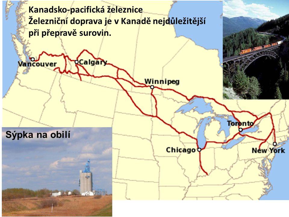 Kanadsko-pacifická železnice Železniční doprava je v Kanadě nejdůležitější při přepravě surovin.
