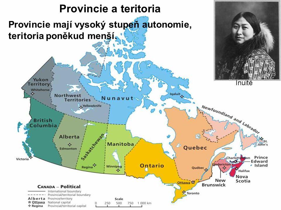 Provincie a teritoria Inuité Provincie mají vysoký stupeň autonomie, teritoria poněkud menší.