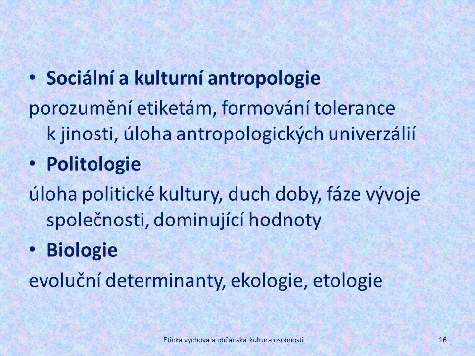 Sociální a kulturní antropologie porozumění etiketám, formování tolerance k jinosti, úloha antropologických univerzálií Politologie úloha politické kultury, duch doby, fáze vývoje společnosti, dominující hodnoty Biologie evoluční determinanty, ekologie, etologie Etická výchova a občanská kultura osobnosti16