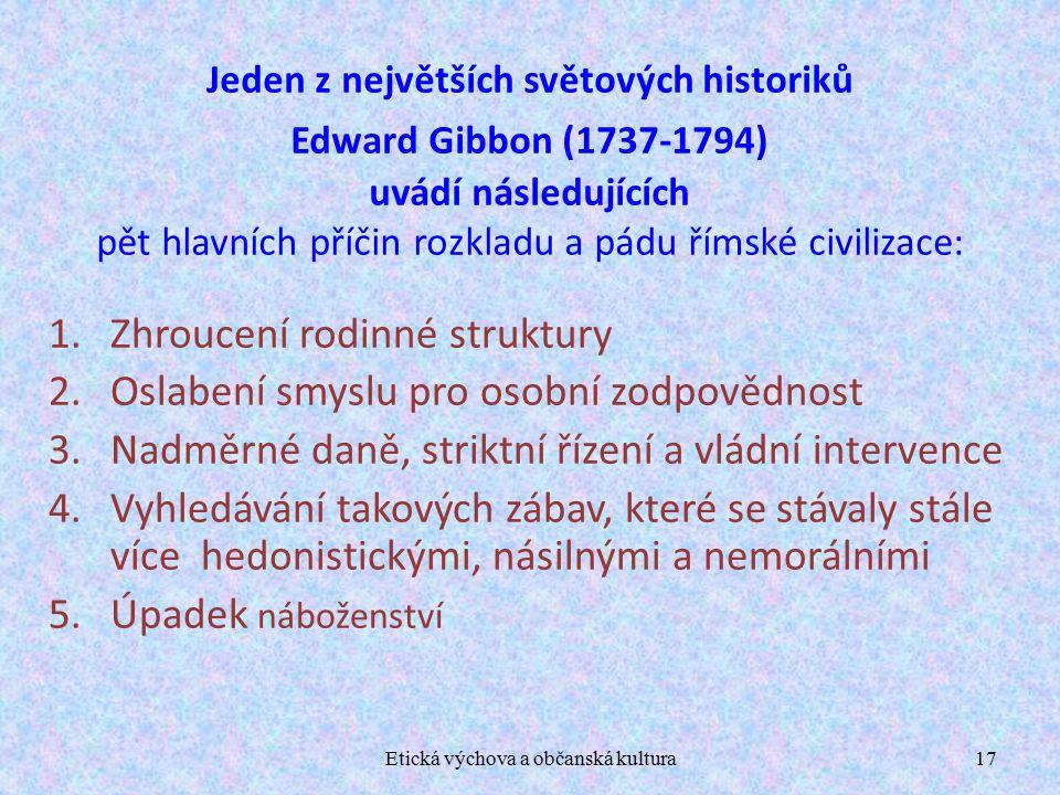 Etická výchova a občanská kultura17 Jeden z největších světových historiků Edward Gibbon (1737-1794) uvádí následujících pět hlavních příčin rozkladu a pádu římské civilizace: 1.Zhroucení rodinné struktury 2.Oslabení smyslu pro osobní zodpovědnost 3.Nadměrné daně, striktní řízení a vládní intervence 4.Vyhledávání takových zábav, které se stávaly stále více hedonistickými, násilnými a nemorálními 5.Úpadek náboženství