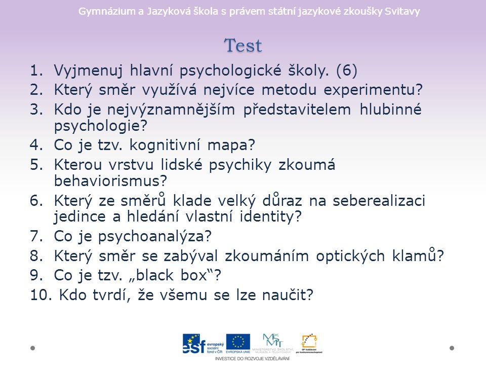 Gymnázium a Jazyková škola s právem státní jazykové zkoušky Svitavy Test 1.Vyjmenuj hlavní psychologické školy. (6) 2.Který směr využívá nejvíce metod
