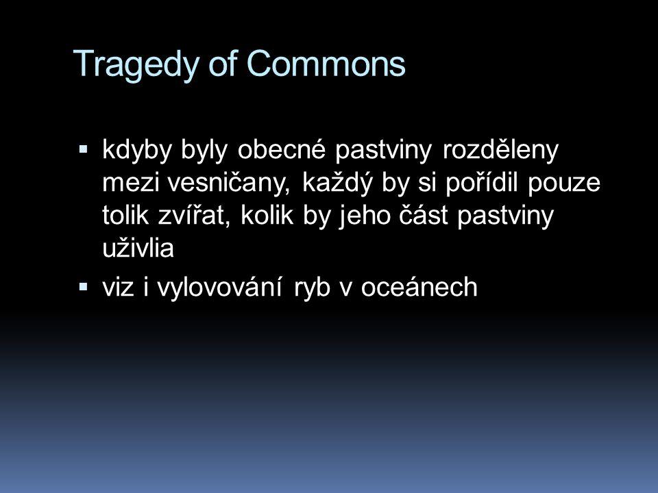 Tragedy of Commons  kdyby byly obecné pastviny rozděleny mezi vesničany, každý by si pořídil pouze tolik zvířat, kolik by jeho část pastviny uživlia  viz i vylovování ryb v oceánech