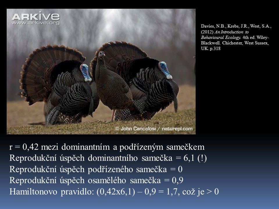 r = 0,42 mezi dominantním a podřízeným samečkem Reprodukční úspěch dominantního samečka = 6,1 (!) Reprodukční úspěch podřízeného samečka = 0 Reprodukční úspěch osamělého samečka = 0,9 Hamiltonovo pravidlo: (0,42x6,1) – 0,9 = 1,7, což je > 0 Davies, N.B., Krebs, J.R., West, S.A., (2012) An Introduction to Behavioural Ecology.