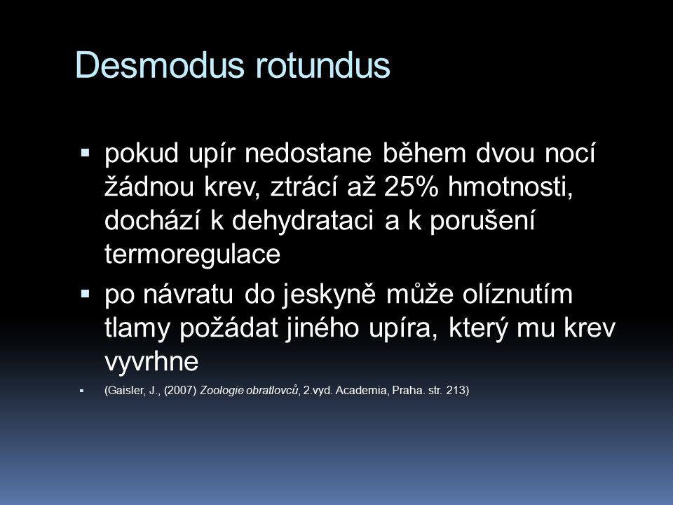 Desmodus rotundus  pokud upír nedostane během dvou nocí žádnou krev, ztrácí až 25% hmotnosti, dochází k dehydrataci a k porušení termoregulace  po návratu do jeskyně může olíznutím tlamy požádat jiného upíra, který mu krev vyvrhne  (Gaisler, J., (2007) Zoologie obratlovců, 2.vyd.