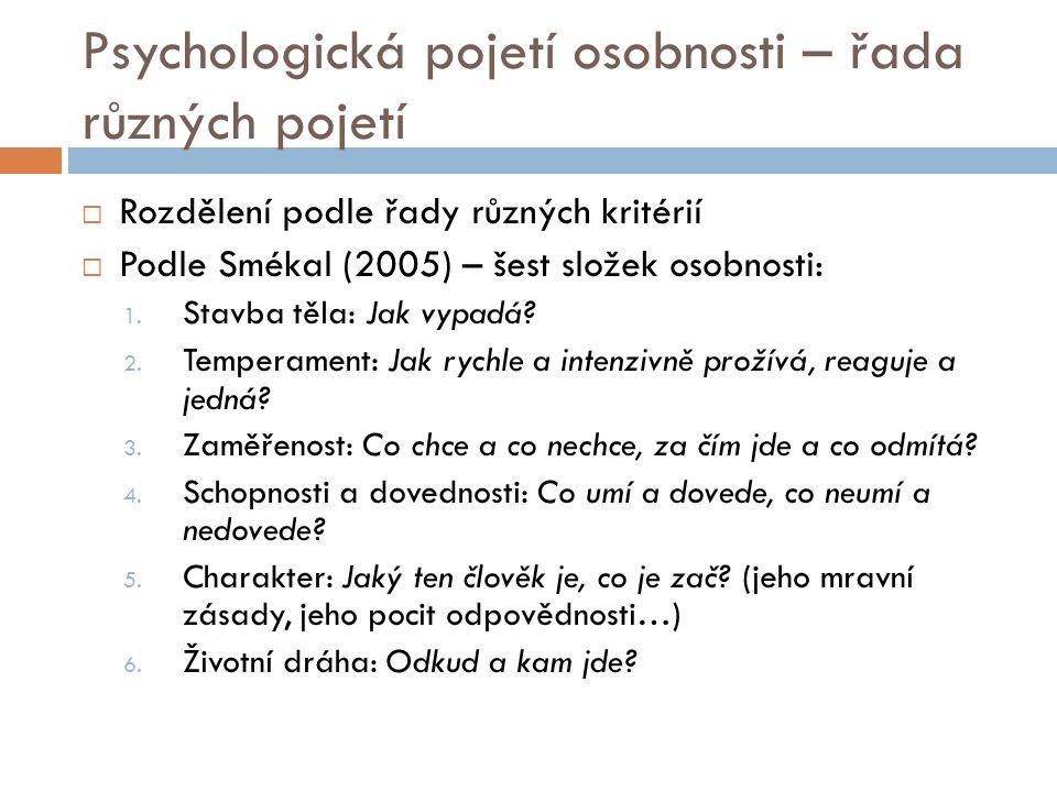 Psychologická pojetí osobnosti – řada různých pojetí  Rozdělení podle řady různých kritérií  Podle Smékal (2005) – šest složek osobnosti: 1.