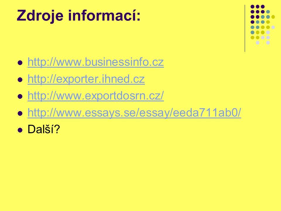 Zdroje informací: http://www.businessinfo.cz http://exporter.ihned.cz http://www.exportdosrn.cz/ http://www.essays.se/essay/eeda711ab0/ Další?