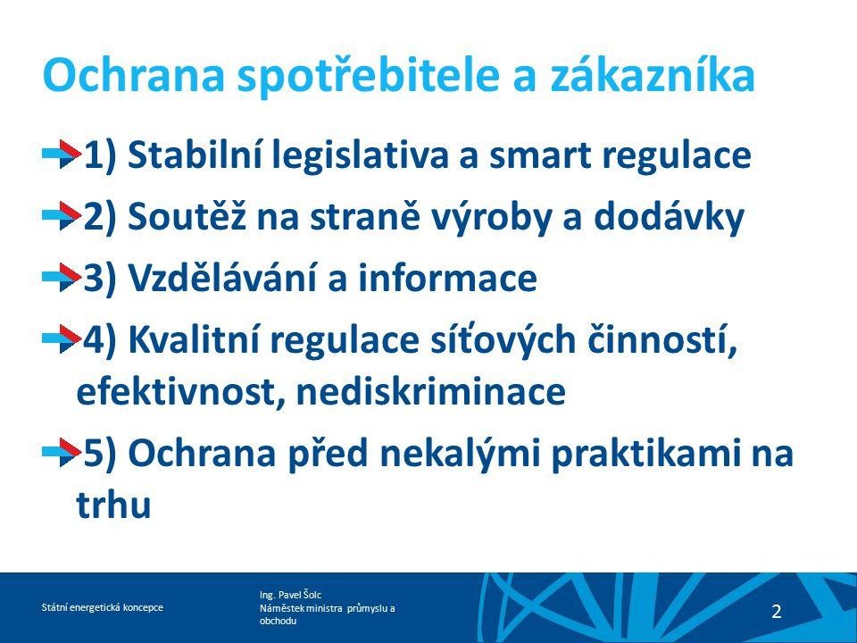 Ing. Pavel Šolc Náměstek ministra průmyslu a obchodu Státní energetická koncepce 2 Ochrana spotřebitele a zákazníka 1) Stabilní legislativa a smart re