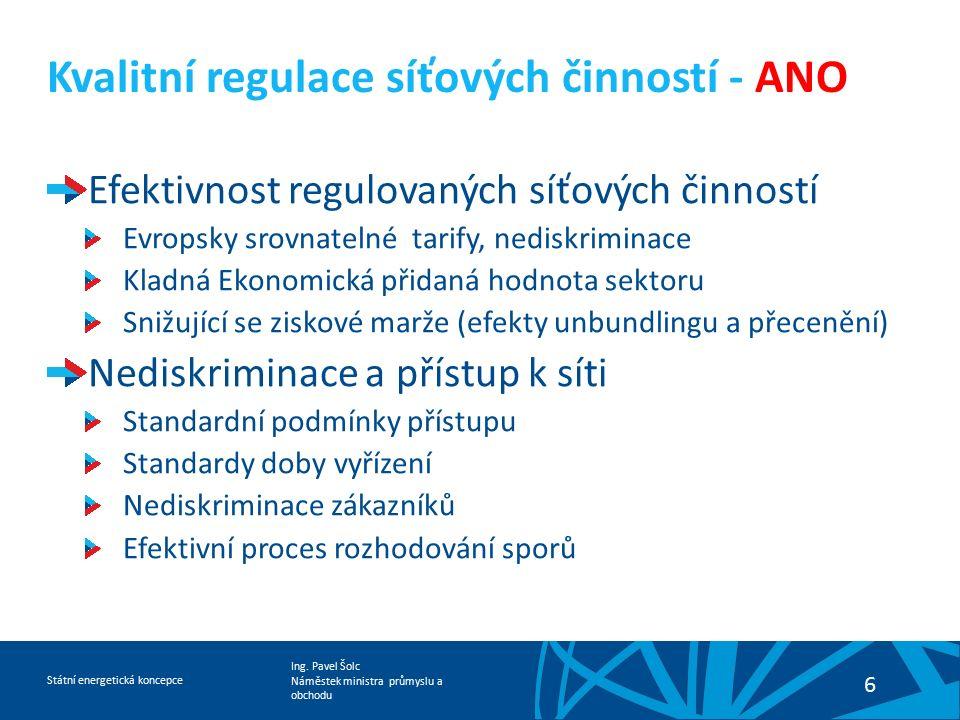 Ing. Pavel Šolc Náměstek ministra průmyslu a obchodu Státní energetická koncepce 6 Kvalitní regulace síťových činností - ANO Efektivnost regulovaných