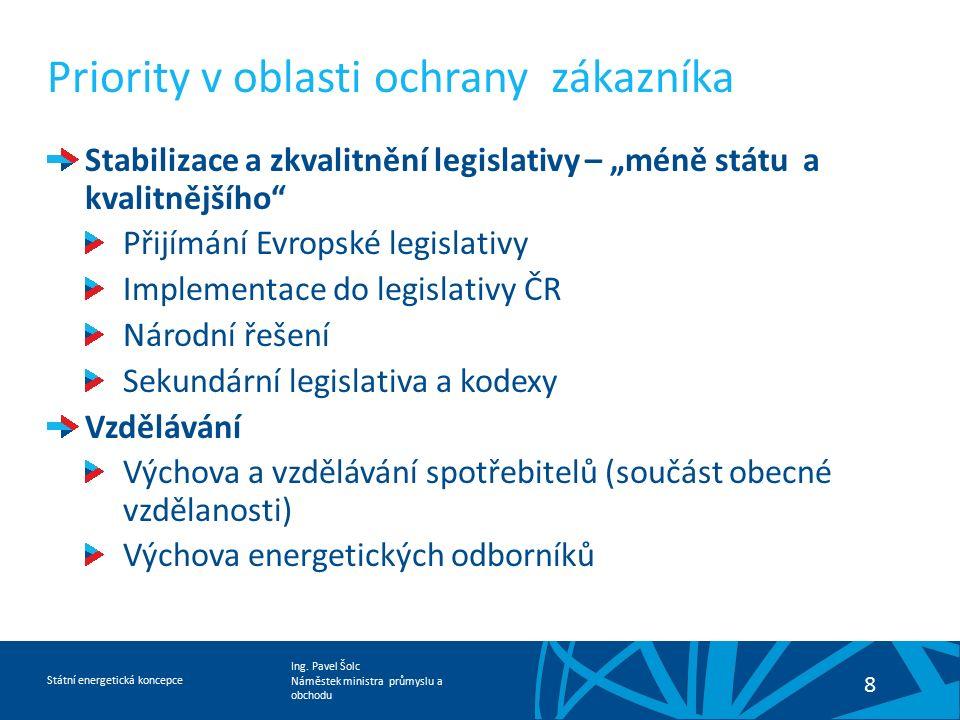 Ing. Pavel Šolc Náměstek ministra průmyslu a obchodu Státní energetická koncepce 8 Priority v oblasti ochrany zákazníka Stabilizace a zkvalitnění legi