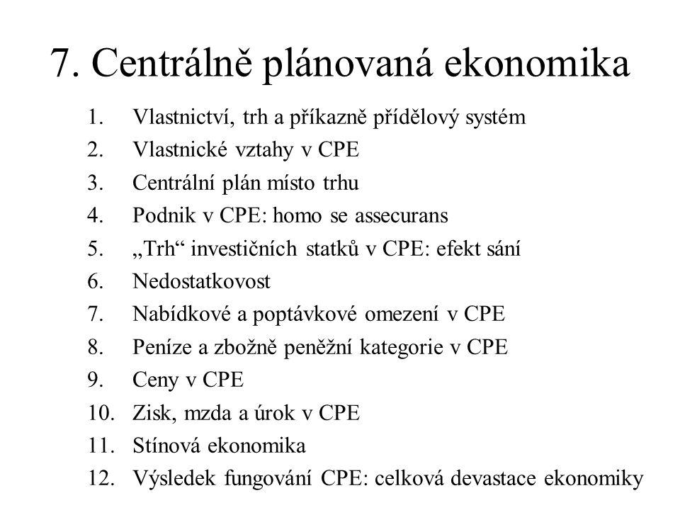 7. Centrálně plánovaná ekonomika 1.Vlastnictví, trh a příkazně přídělový systém 2.Vlastnické vztahy v CPE 3.Centrální plán místo trhu 4.Podnik v CPE: