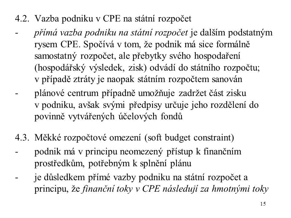 15 4.2.Vazba podniku v CPE na státní rozpočet -přímá vazba podniku na státní rozpočet je dalším podstatným rysem CPE.