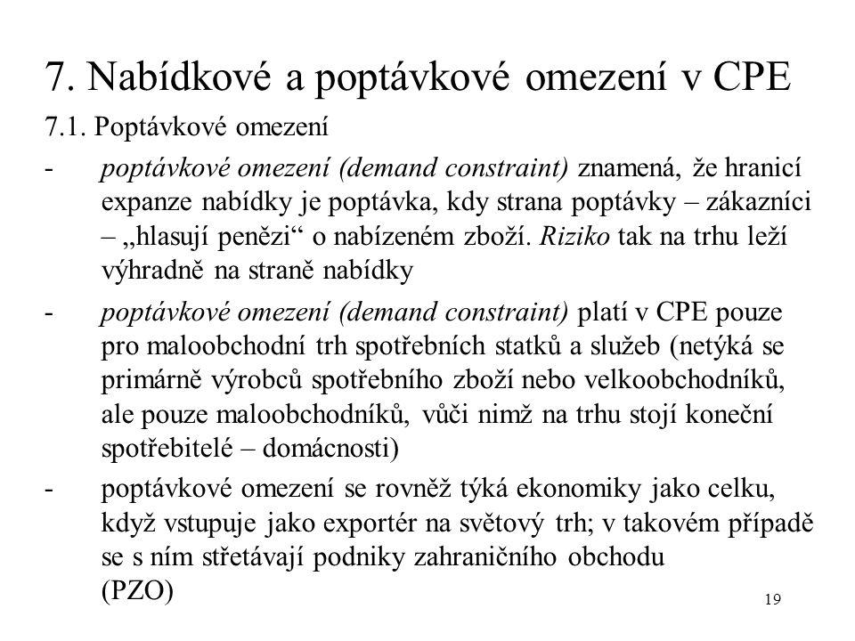 19 7. Nabídkové a poptávkové omezení v CPE 7.1.