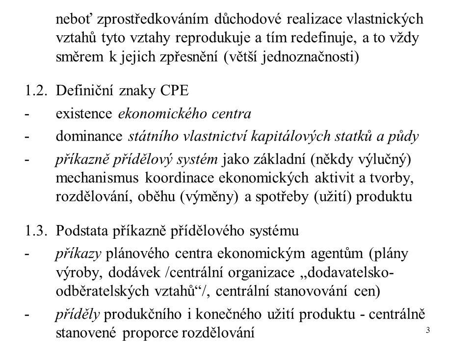 """14 4.Podnik v CPE: homo se assecurans 4.1.Teorém homo se assecurans (člověk zabezpečující se) -mikroekonomický model chování podniku v CPE (autor: Jiří Hlaváček, 1986) -cílová funkce: maximalizace rezervy pří splnění plánového zadání -omezující podmínky: množina plánově přípustných výrobních situací -důvodem """"křečkování podniku v CPE je indexová metoda plánování: kdyby podnik neměl utajené rezervy, mohl by se v příštím plánovacím období ocitnout v situaci, kdy by nebyl s to splnit indexově zvýšené plánové zadání -důsledkem chování podniku typu home se assecurans je tzv."""