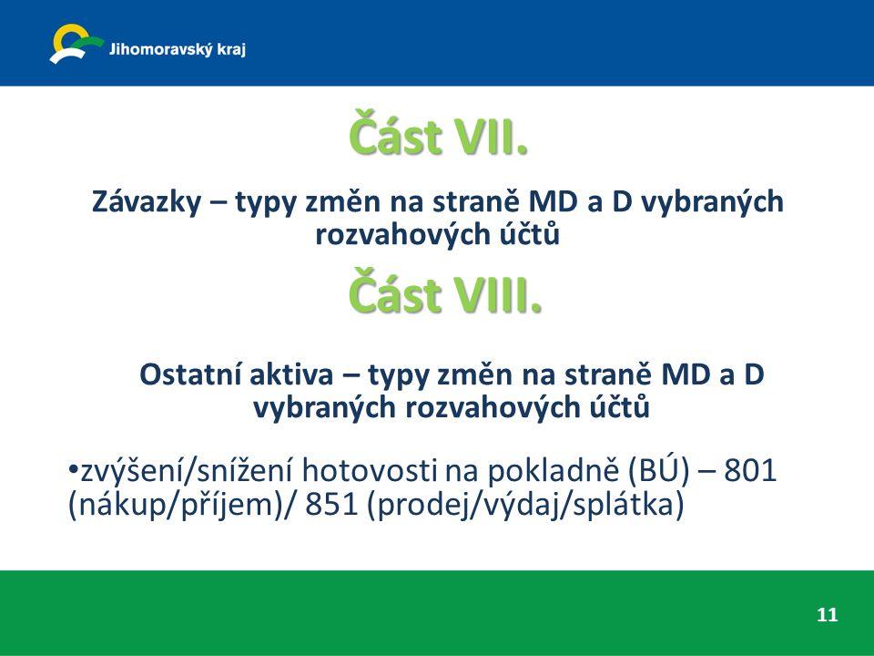 Část VII. Závazky – typy změn na straně MD a D vybraných rozvahových účtů ČástVIII. Část VIII. Ostatní aktiva – typy změn na straně MD a D vybraných r